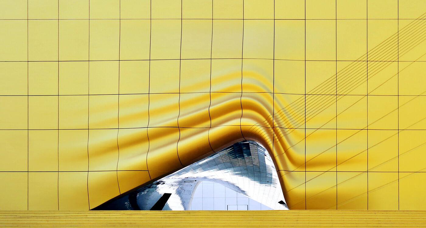 Yellow building walkway