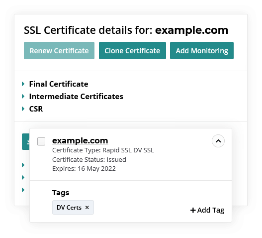 SSL management and tagging